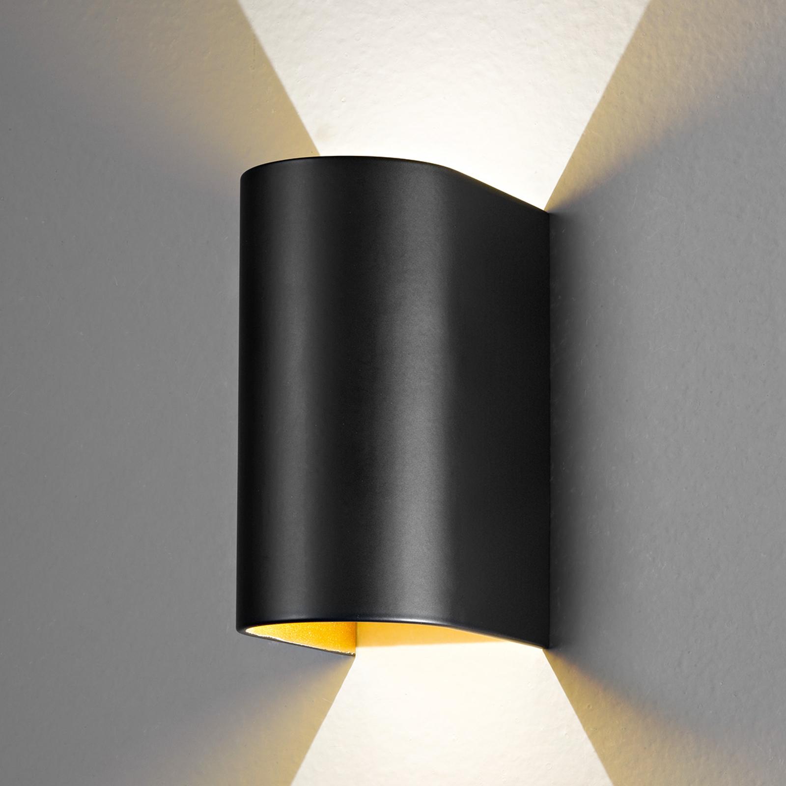 LED-vägglampa Feeling, svart guld