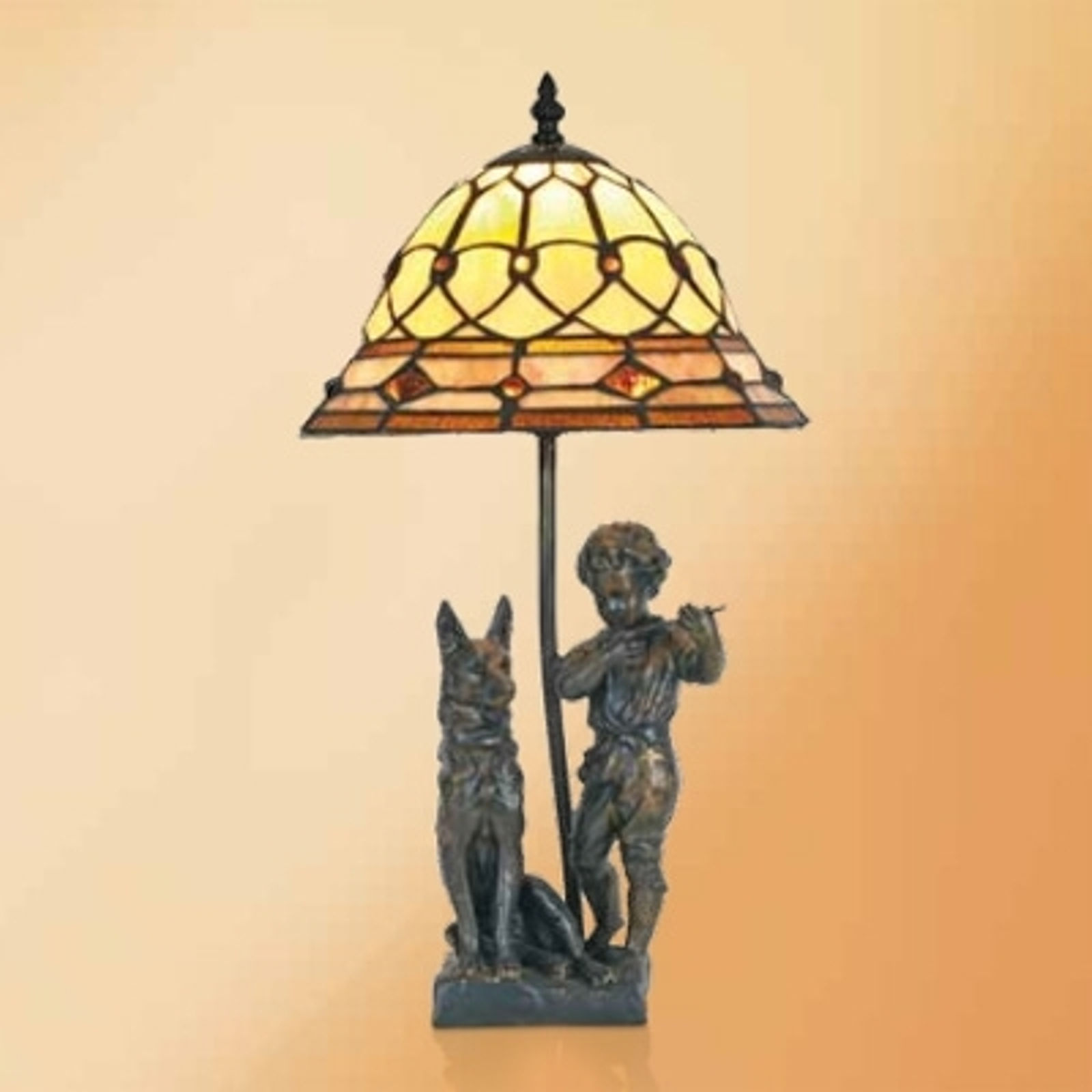 Hugo - bordlampe med harpiksfigurer, Tiffany-stil