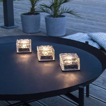 LED-solcellstearinljus Icecube, 3-pack, isbitsform