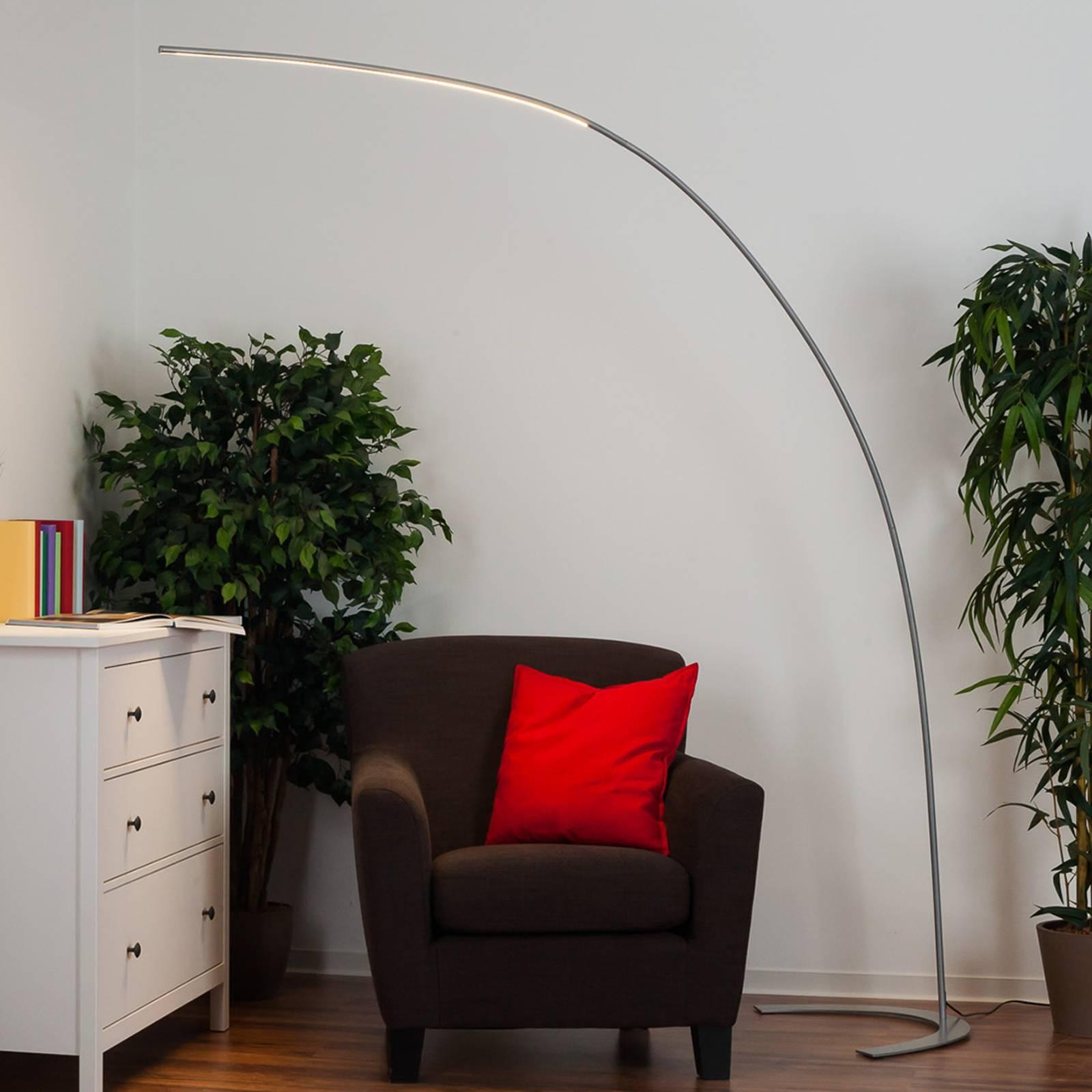 Silberne LED-Stehlampe Danua in Bogenform