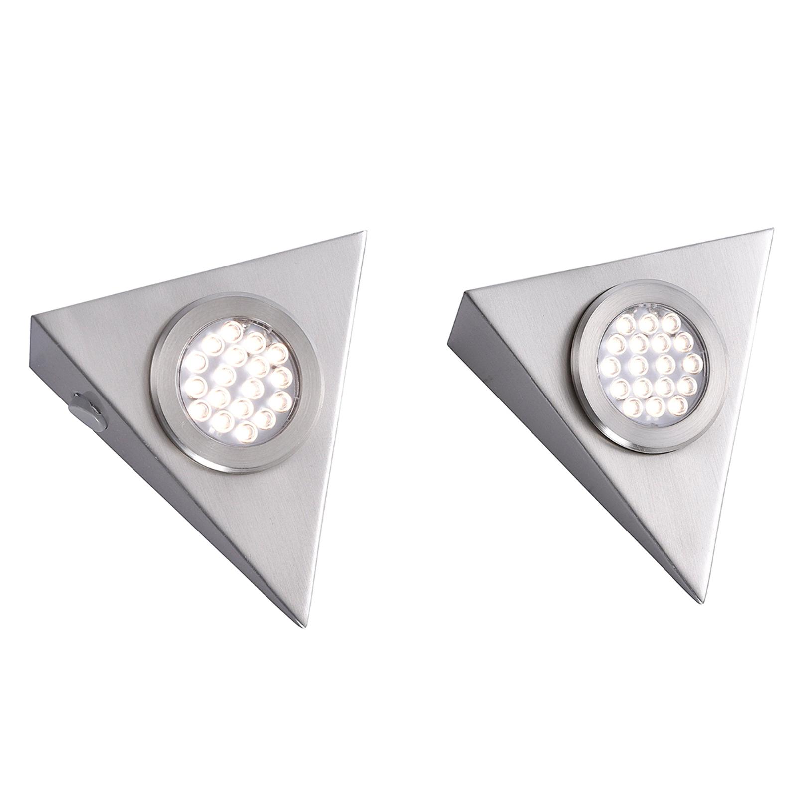Dreieckige LED-Unterbauleuchte Helena im 2-er Set