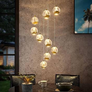 Lucande Hayley LED-hänglampa, 9 lampor, guld