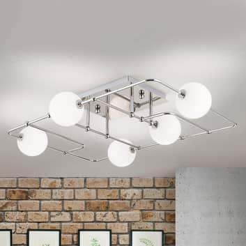 LED-taklampe Pipes med 5 glasskuler, nikkel