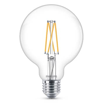 Philips E27 6 W LED-globlampa G95 klar dimbar 927