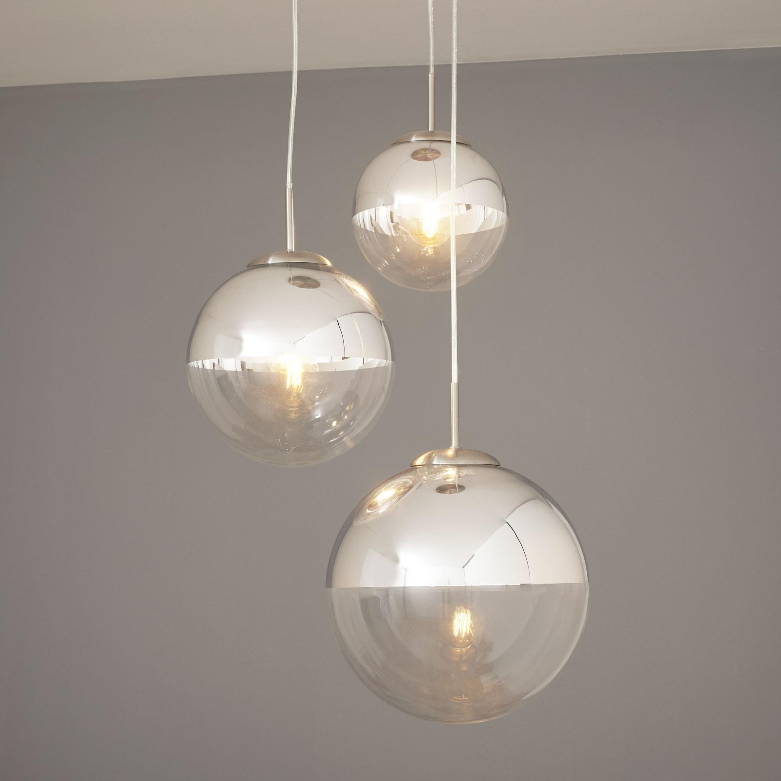 Lámpara colgante Ravena esferas cristal, 3 brazos