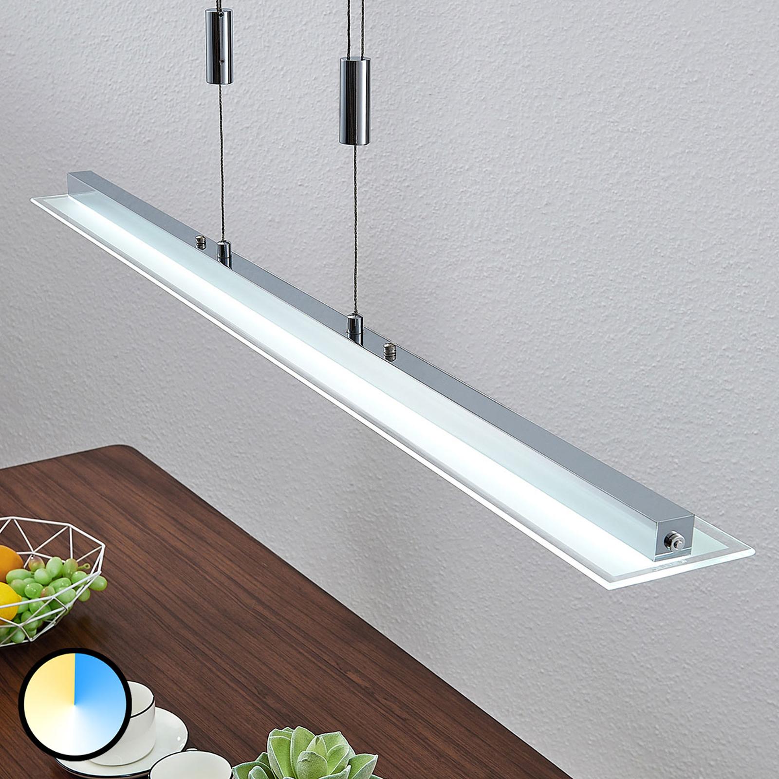 LED-pendellampe, bjelkeform, Sladja, touchsdimmer