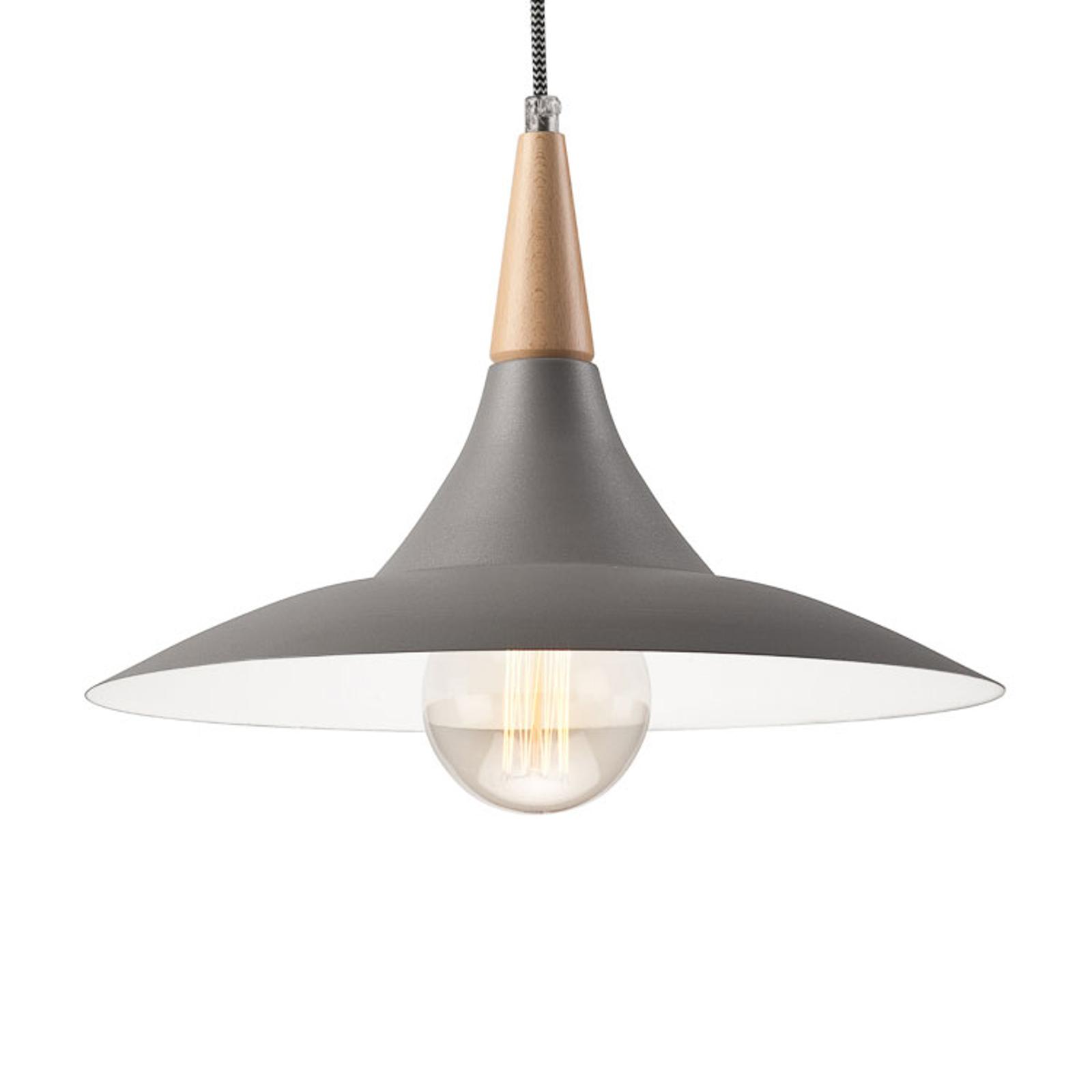 Holm hængelampe med trædetalje, grå
