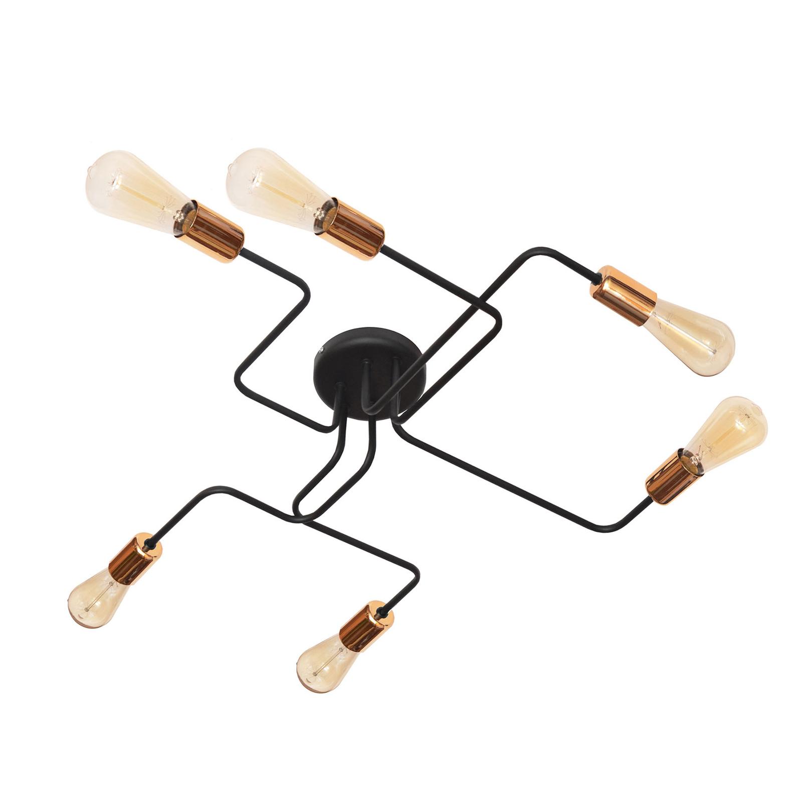 Taklampe Tube, 6 lyskilder, svart/kobber