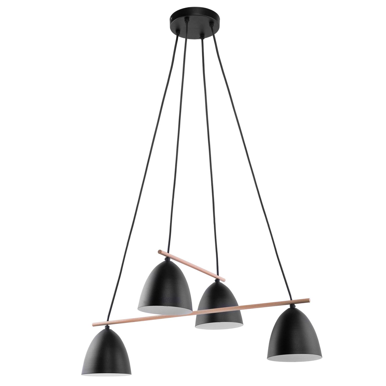 Suspension Aida à 4 lampes, noire