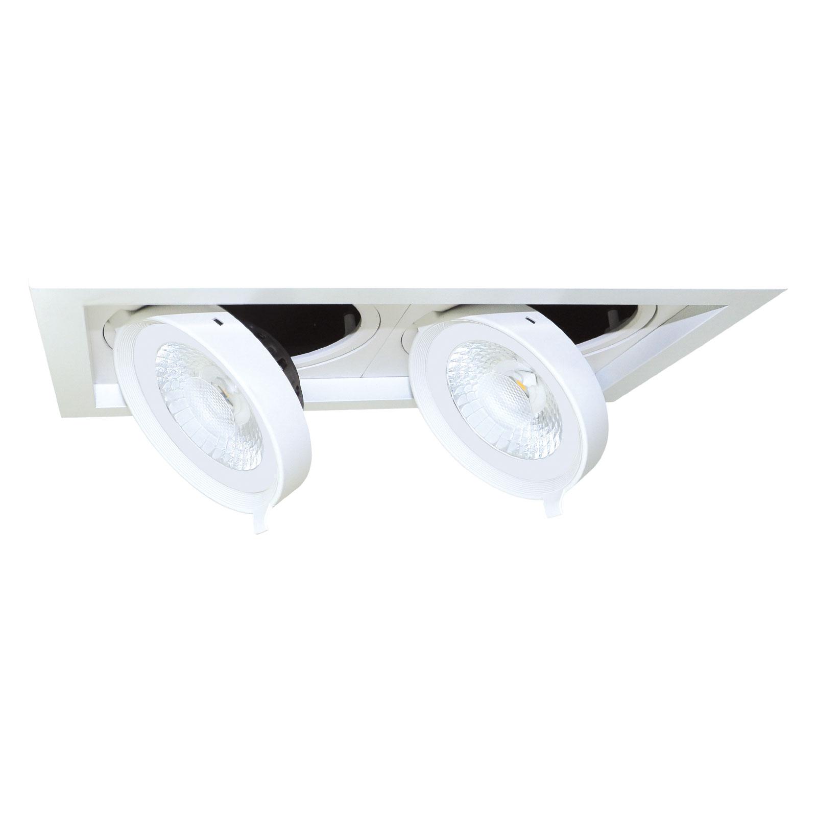 Spot encastré LED Quado1 à 2 lampes, dimmable