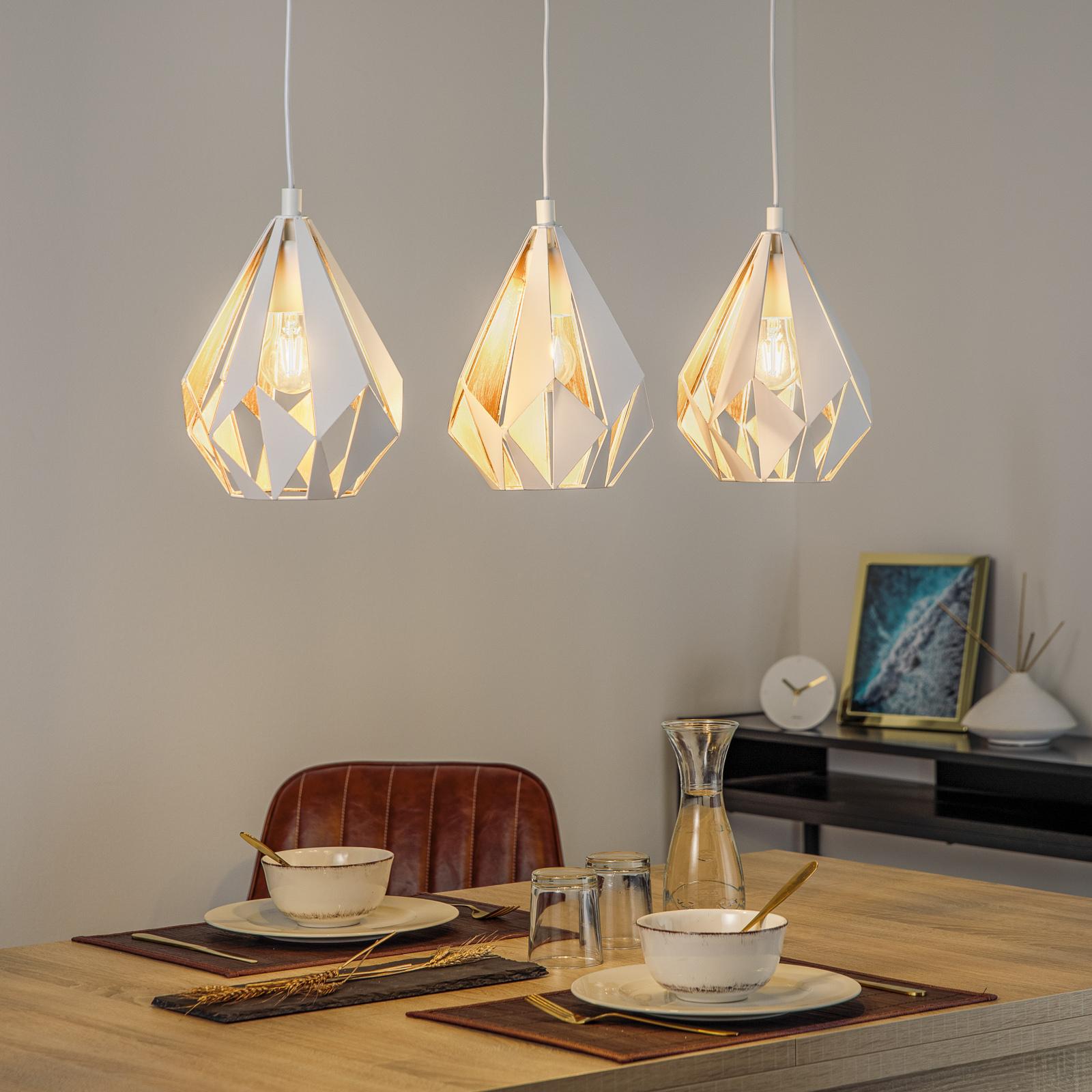 Lámpara colgante Carlton 1, 3 luces, blanco-dorado