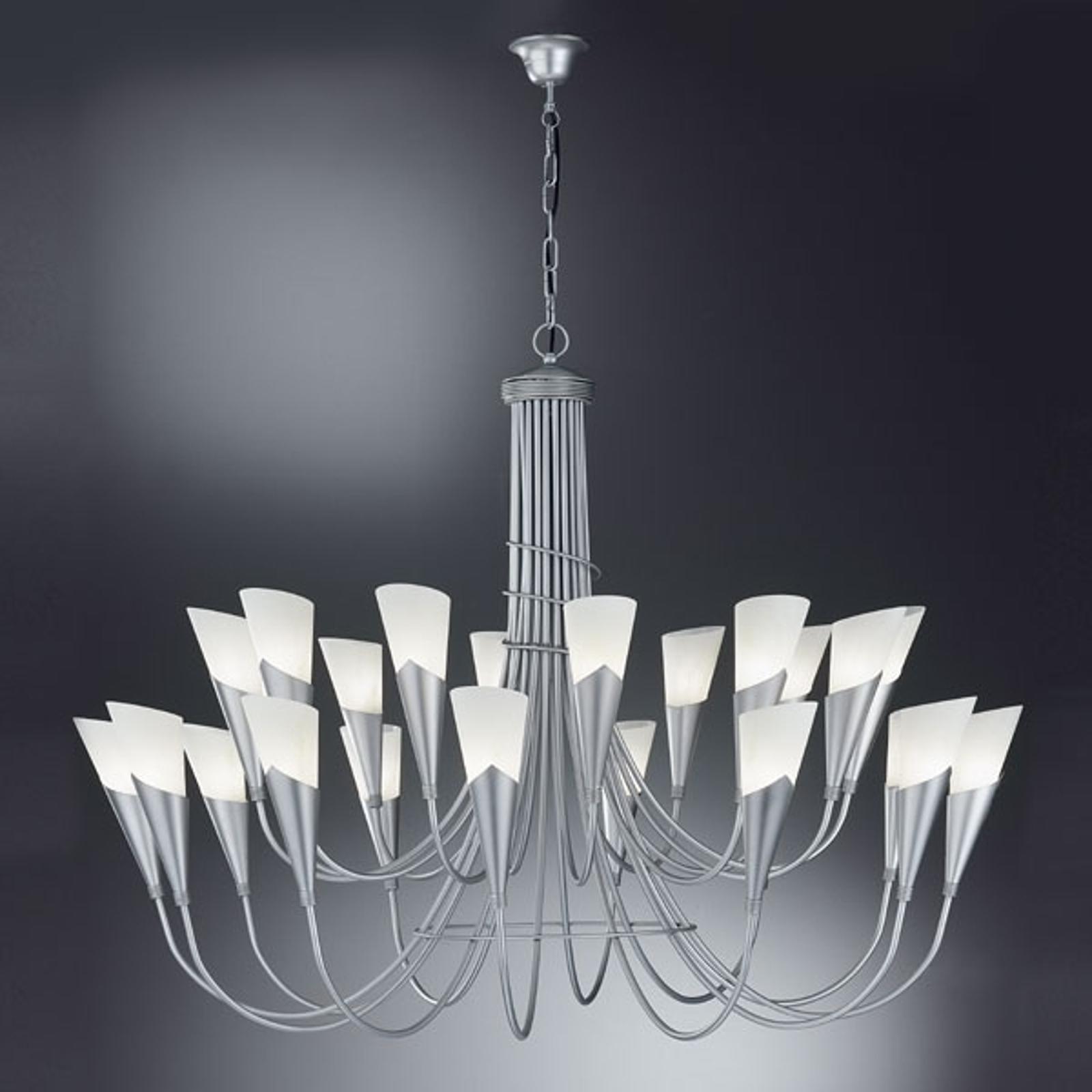 Lustre CAMPAGNOLA à 24 lampes argenté