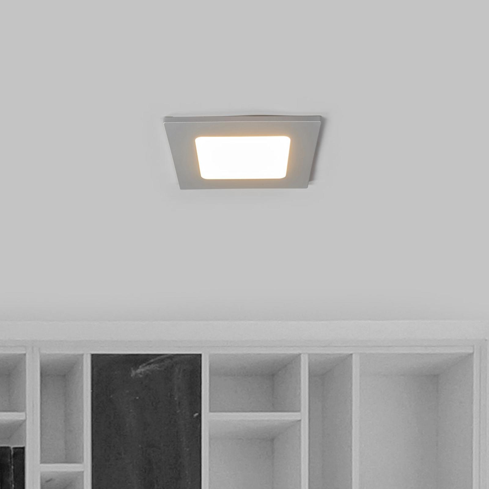 Joki LED-indbygningsspot sølv 3000K kantet 11,5cm