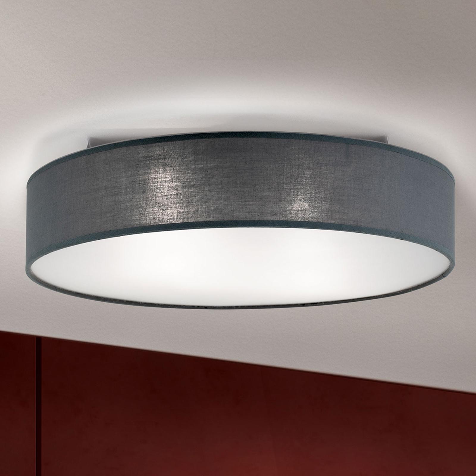 Grijze plafondlamp Ufo met linnen lampenkap