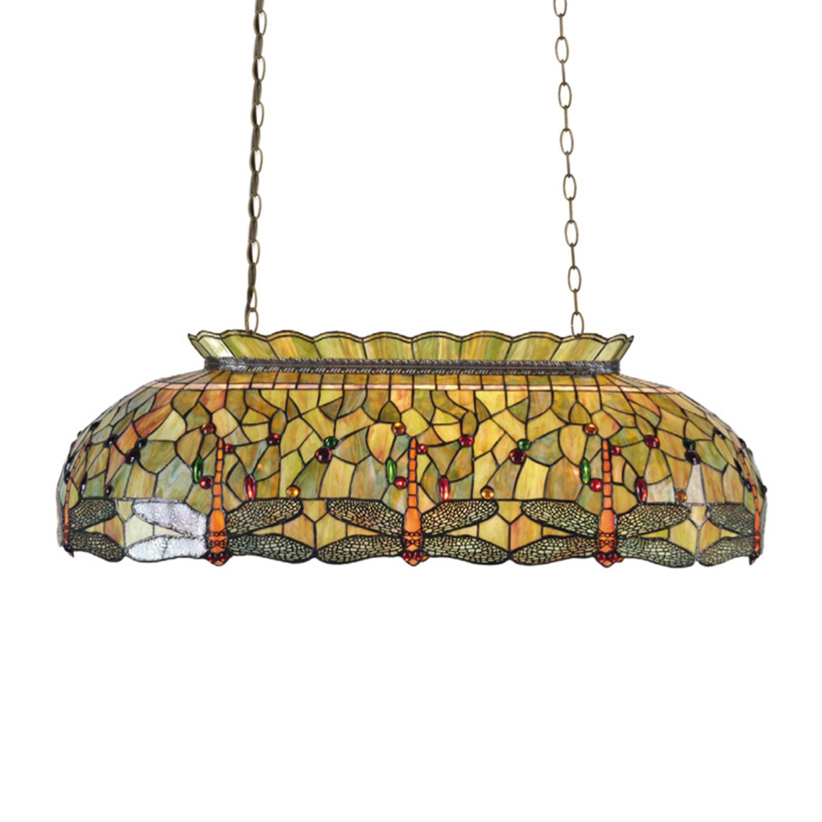 Zielona lampa wisząca Fania w stylu Tiffany