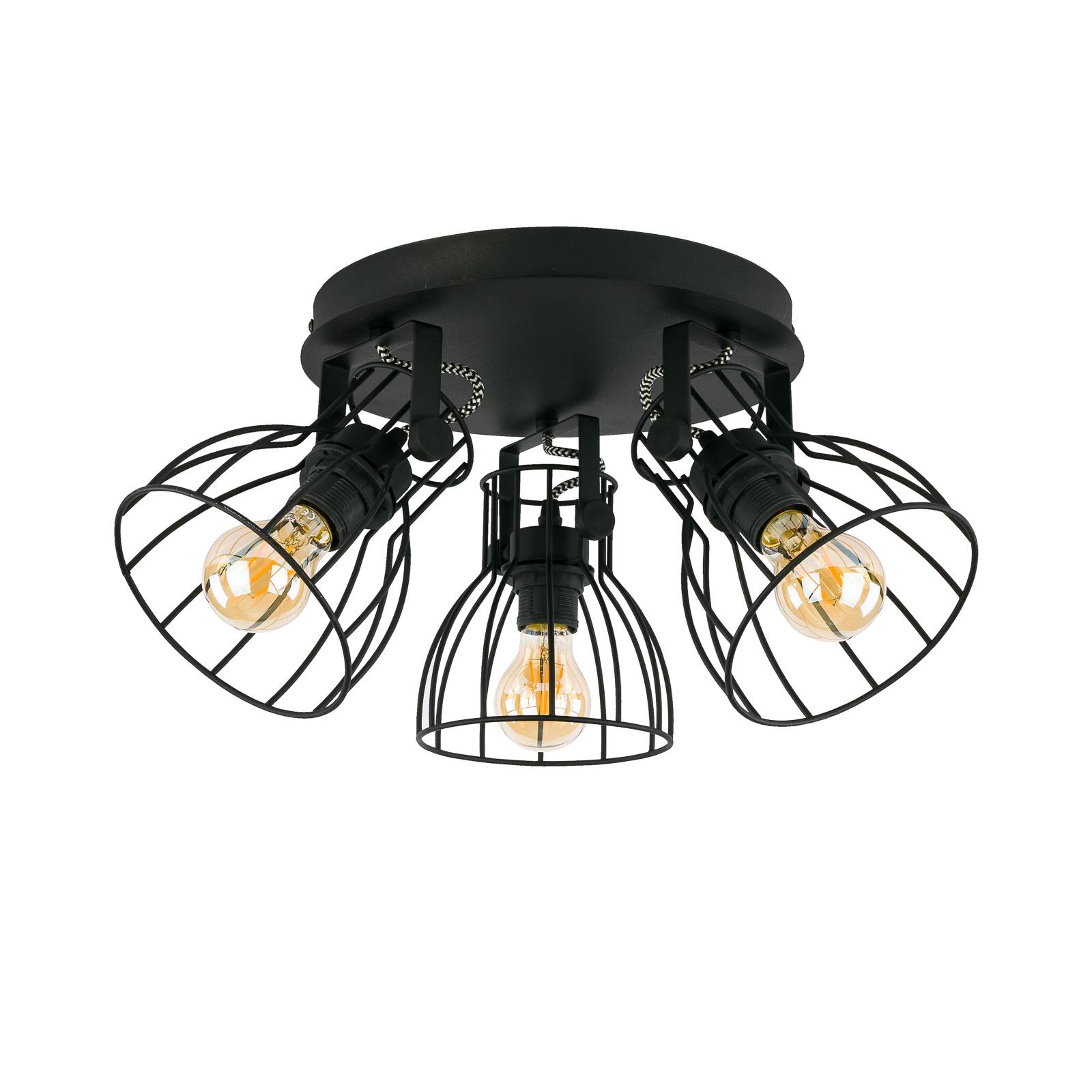 Plafonnier Alano noir à trois lampes
