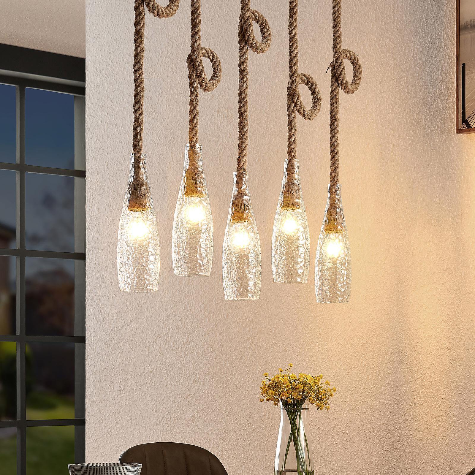 Lindby Relia hængelampe, med glasskærme