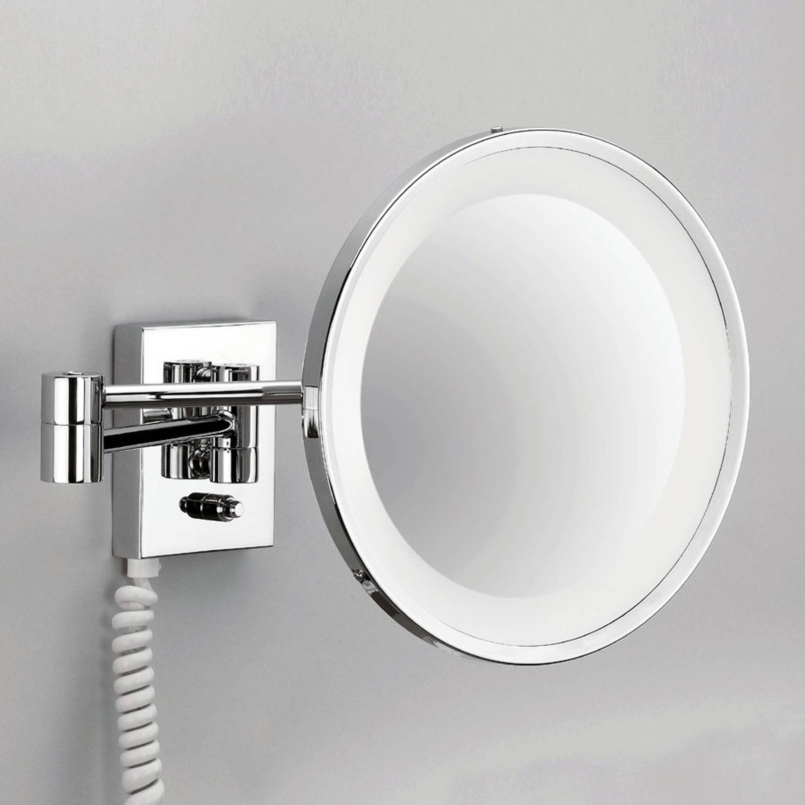 POINT - illuminated cosmetic wall mirror, chrome