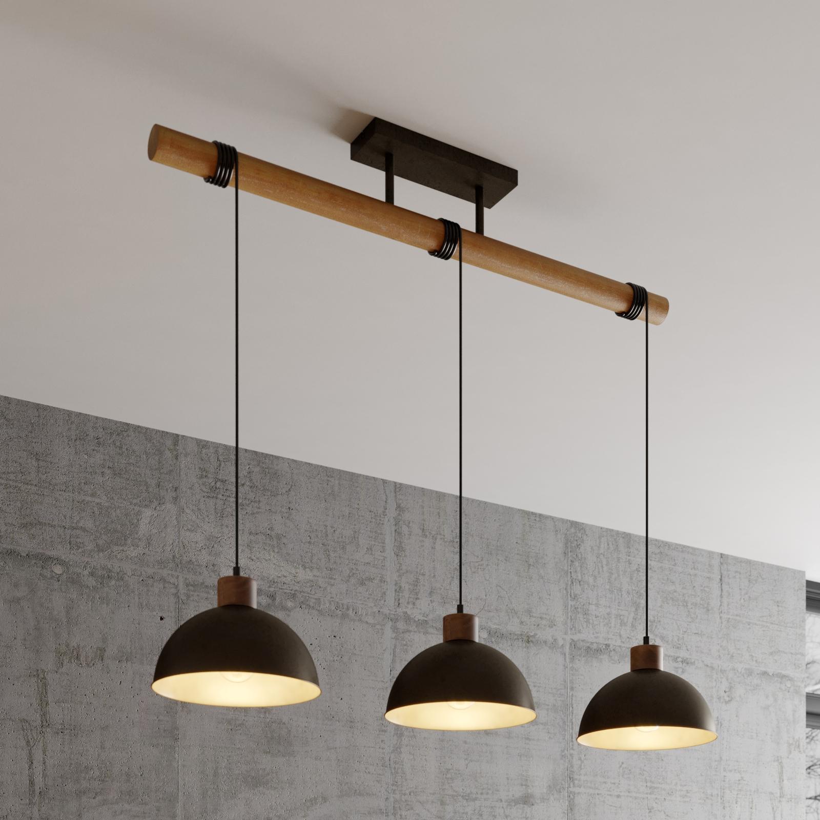 Lindby Holgar hänglampa, trä/metall, 3 lampor