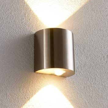 Halvrund LED-vägglampa Lareen, satinerat nickel