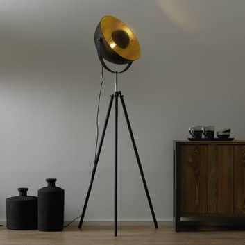 Trebenet gulvlampe Lenn, svart, gull