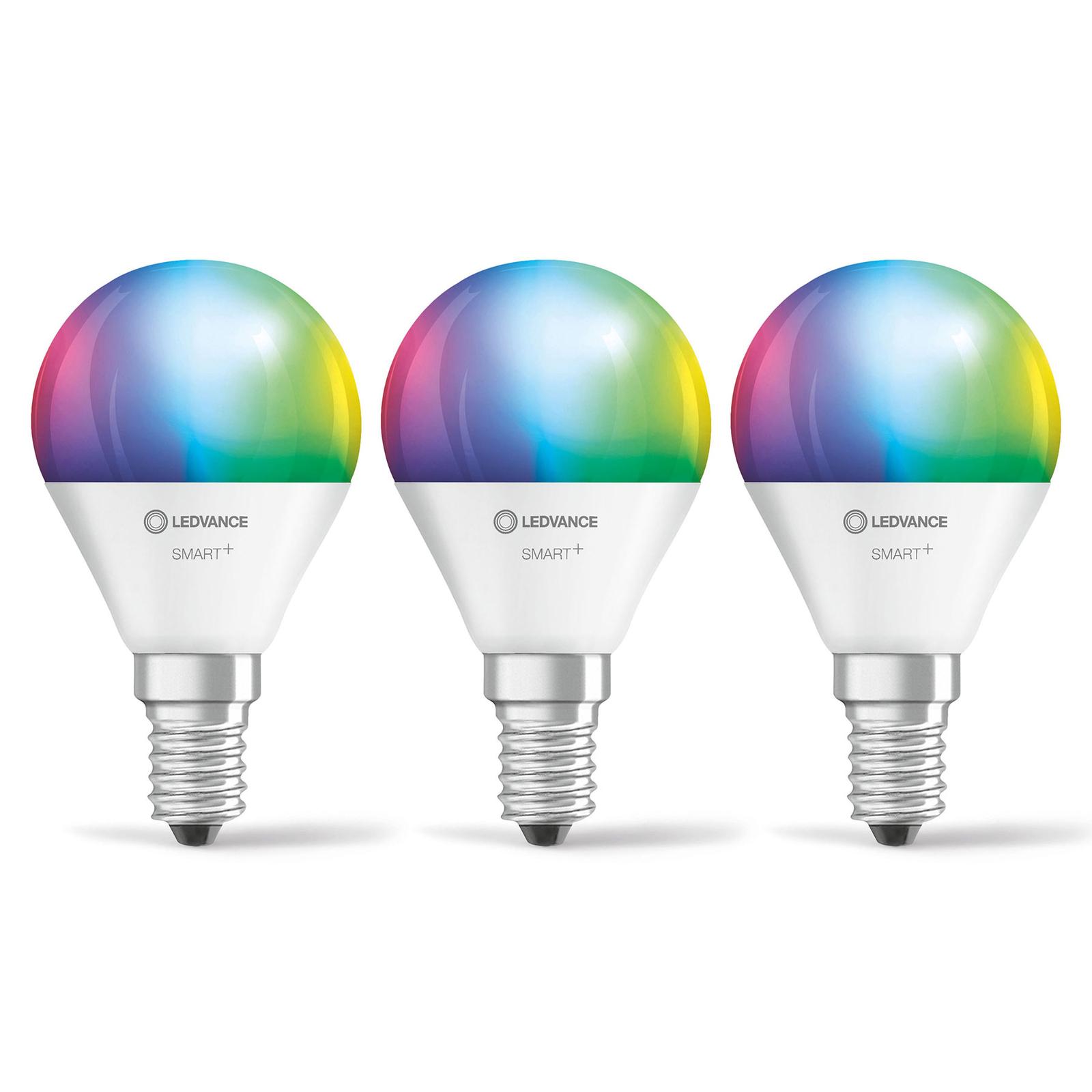 LEDVANCE SMART+ WiFi E14 5W dråpepære RGBW 3-er