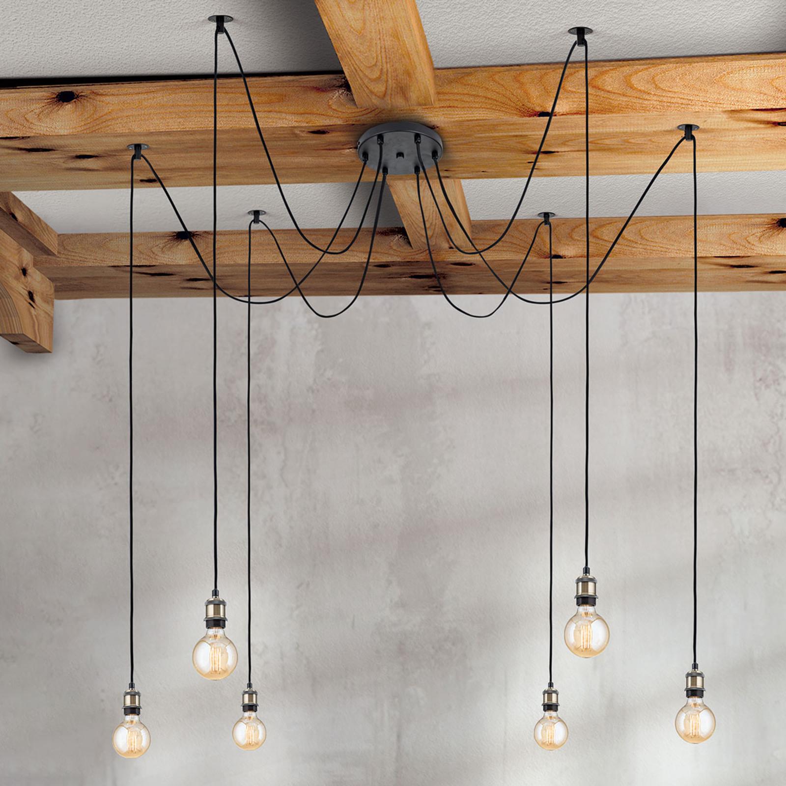 6-punktowa lampa wisząca vintage Jailhouse