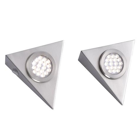 Trekantet LED-undermonteringslys Helena i 2-pkn.