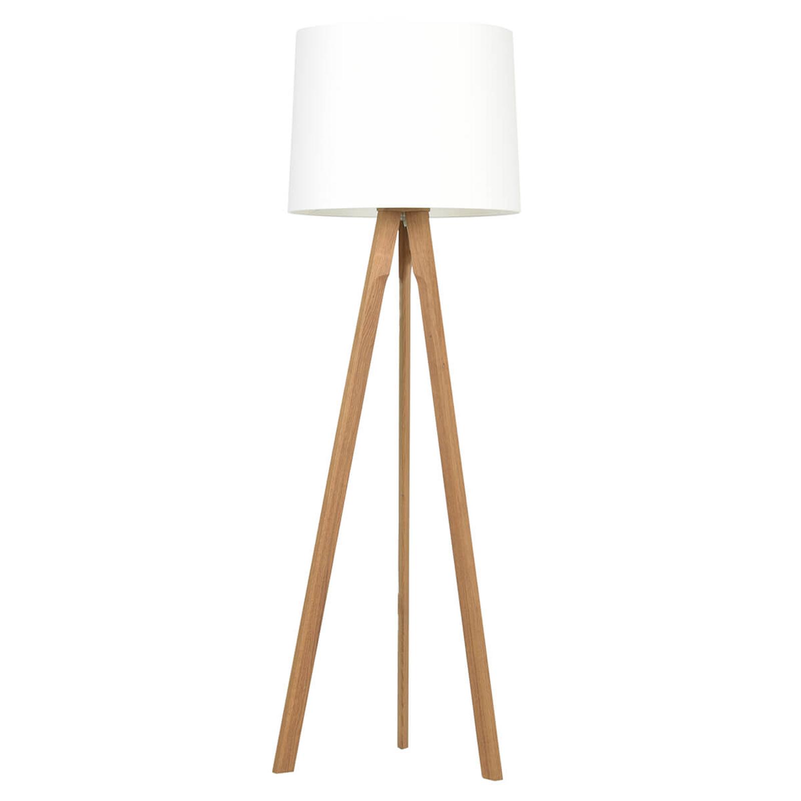 Gulvlampe i solid naturlig tre og med hvit lampeskjerm