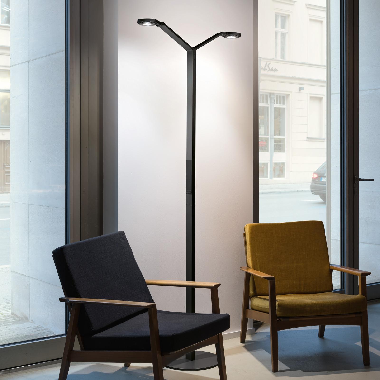 Luctra Floor Twin Radial lampa stojąca LED czarna