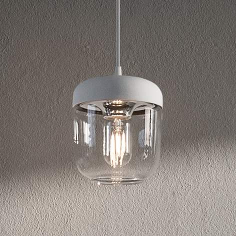 UMAGE Acorn-hengelampe hvit/stål, 1 lyskilde