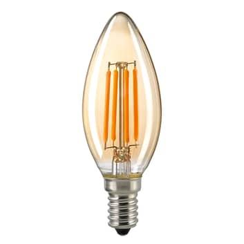 LED-kronljuslampa E14 4,5W filament guld dimbar