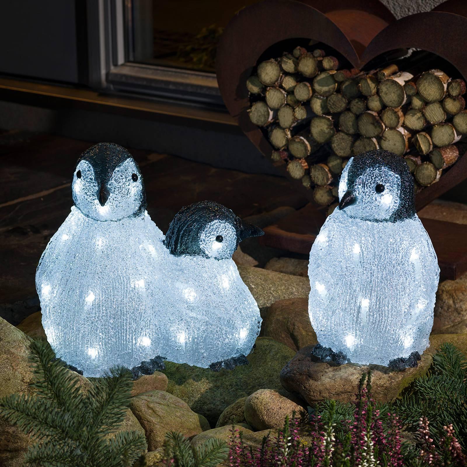 "*For X-Mas*: LED-Figur ""Pinguine"" aus Acryl, 3er-Set"