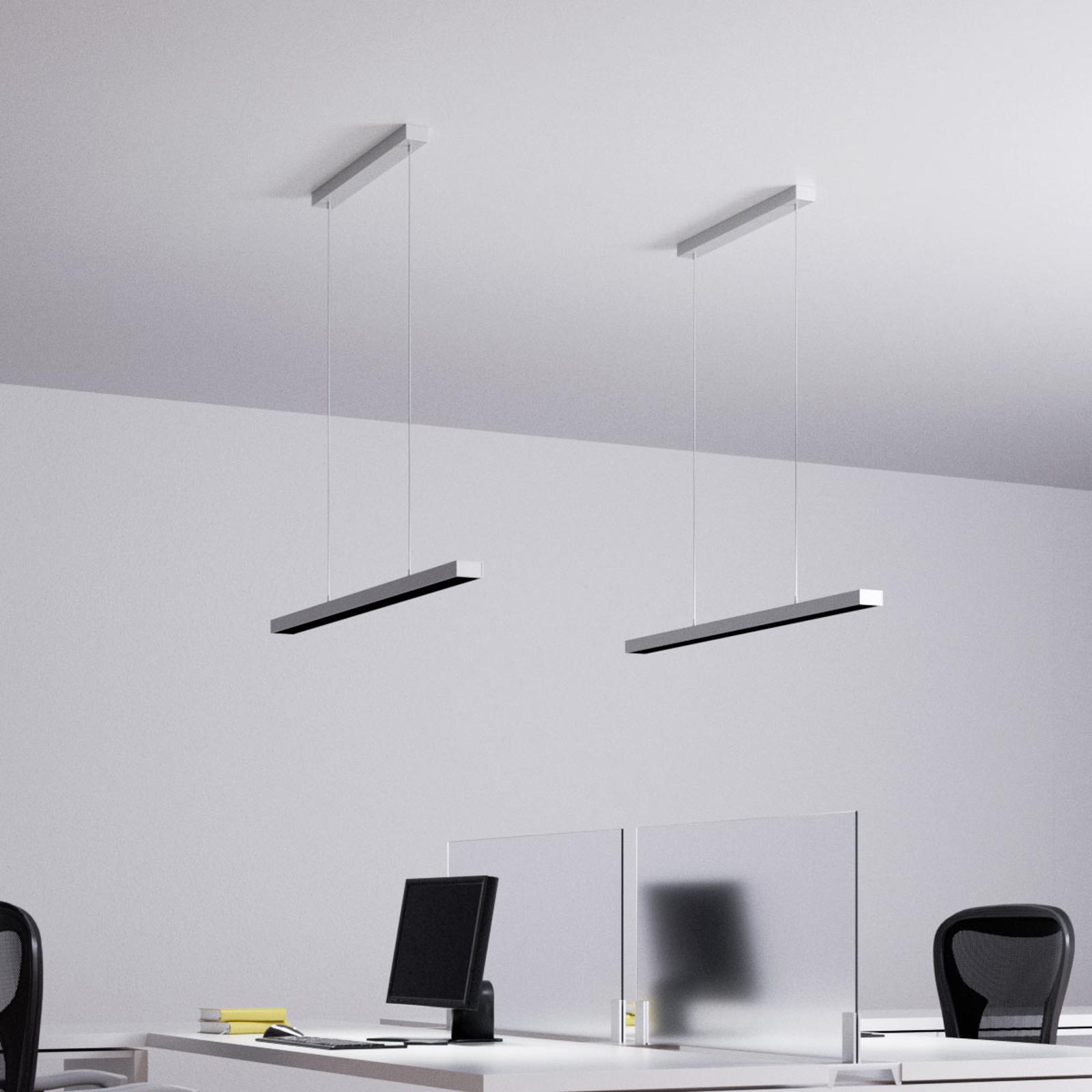 Suspension LED Jolinda pour bureau, argentée