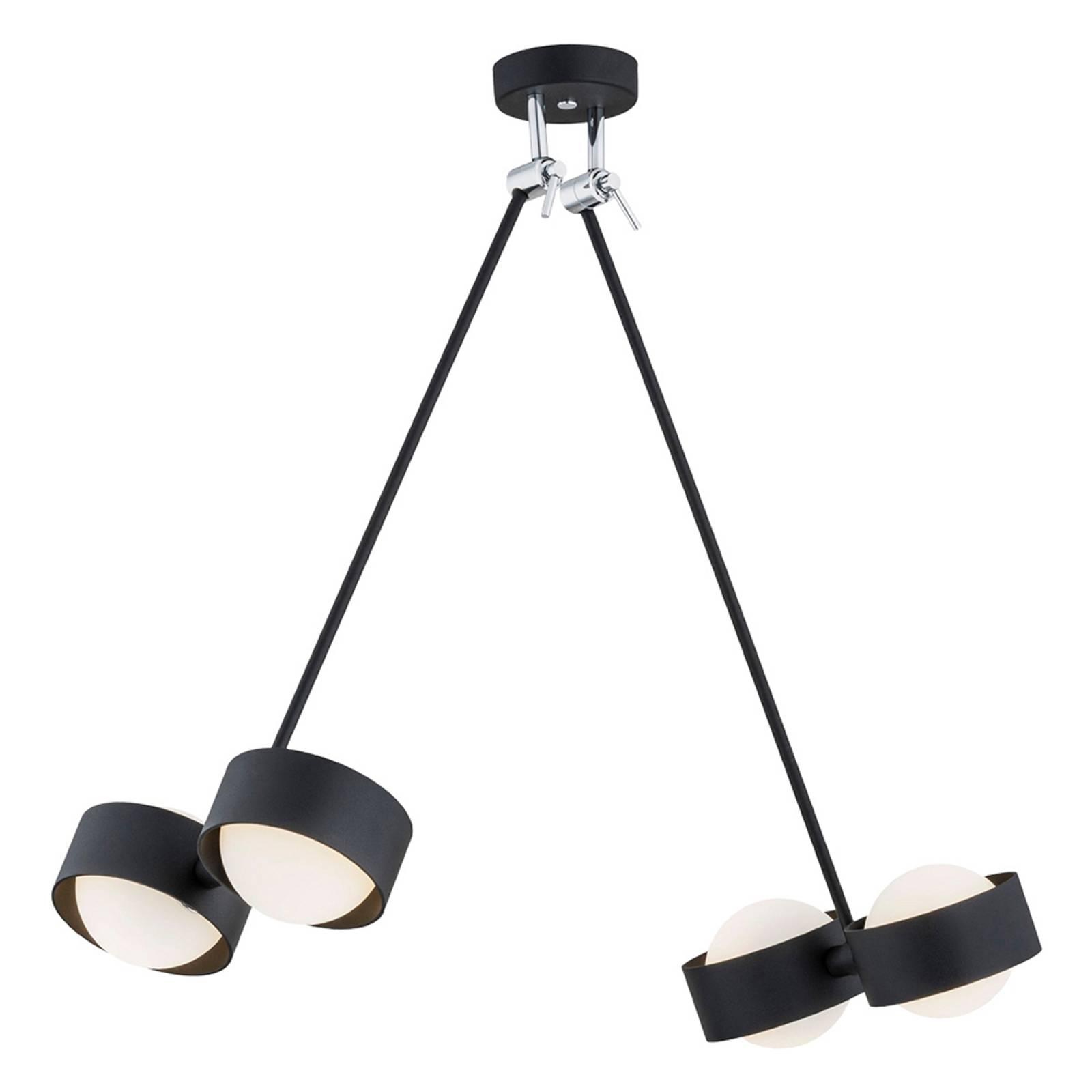 Suspension LED Macedo quatre lampes, noire