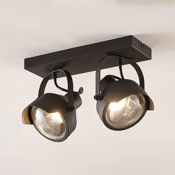 Koplamp-plafondspot Henega, zwart, met 2 lampjes