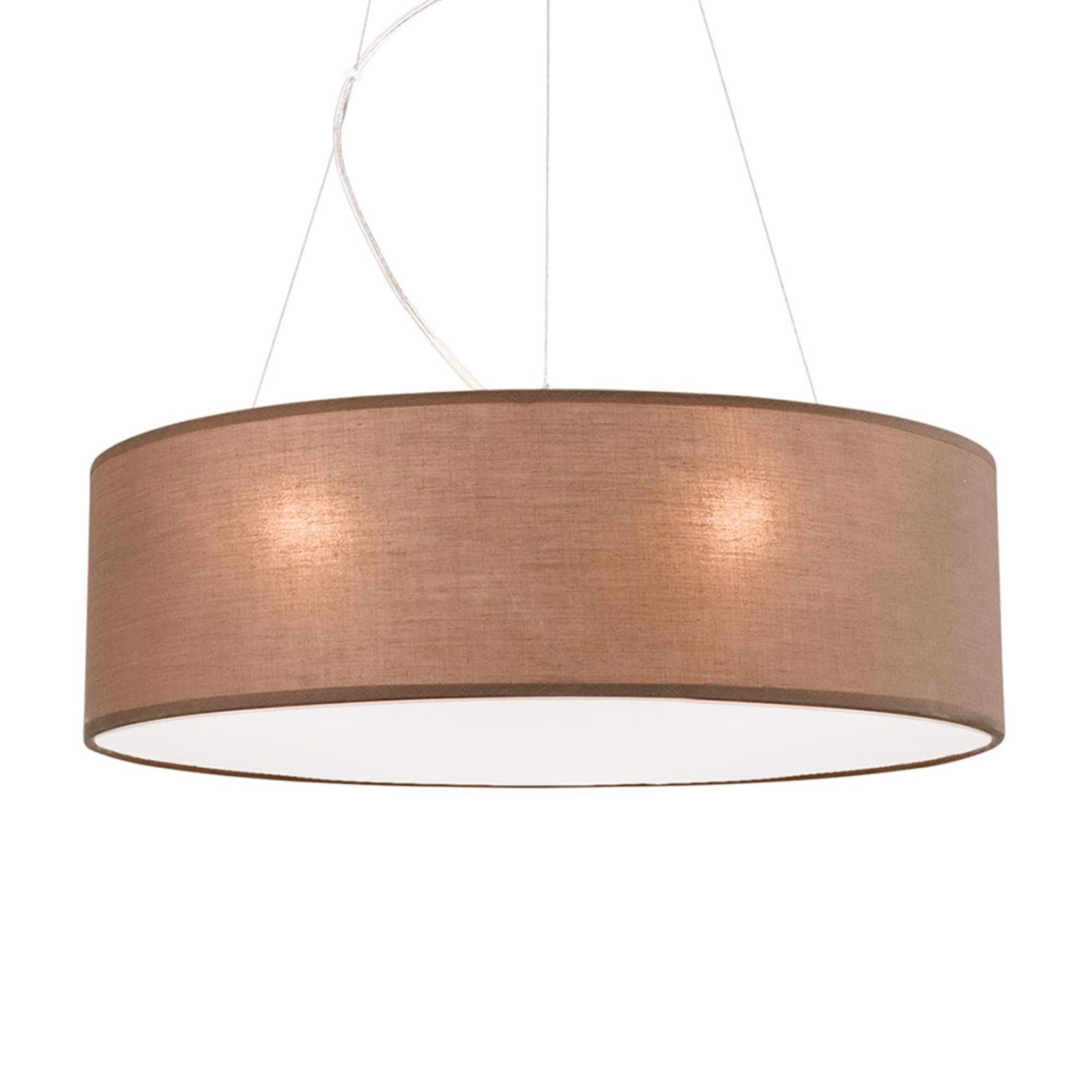 Bruine hanglamp Ufo met linnen kap