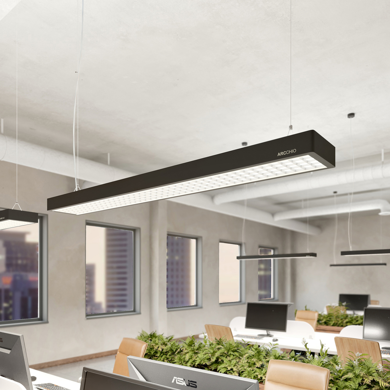 Arcchio Susi LED-Office-Pendellampe, DALI, schwarz