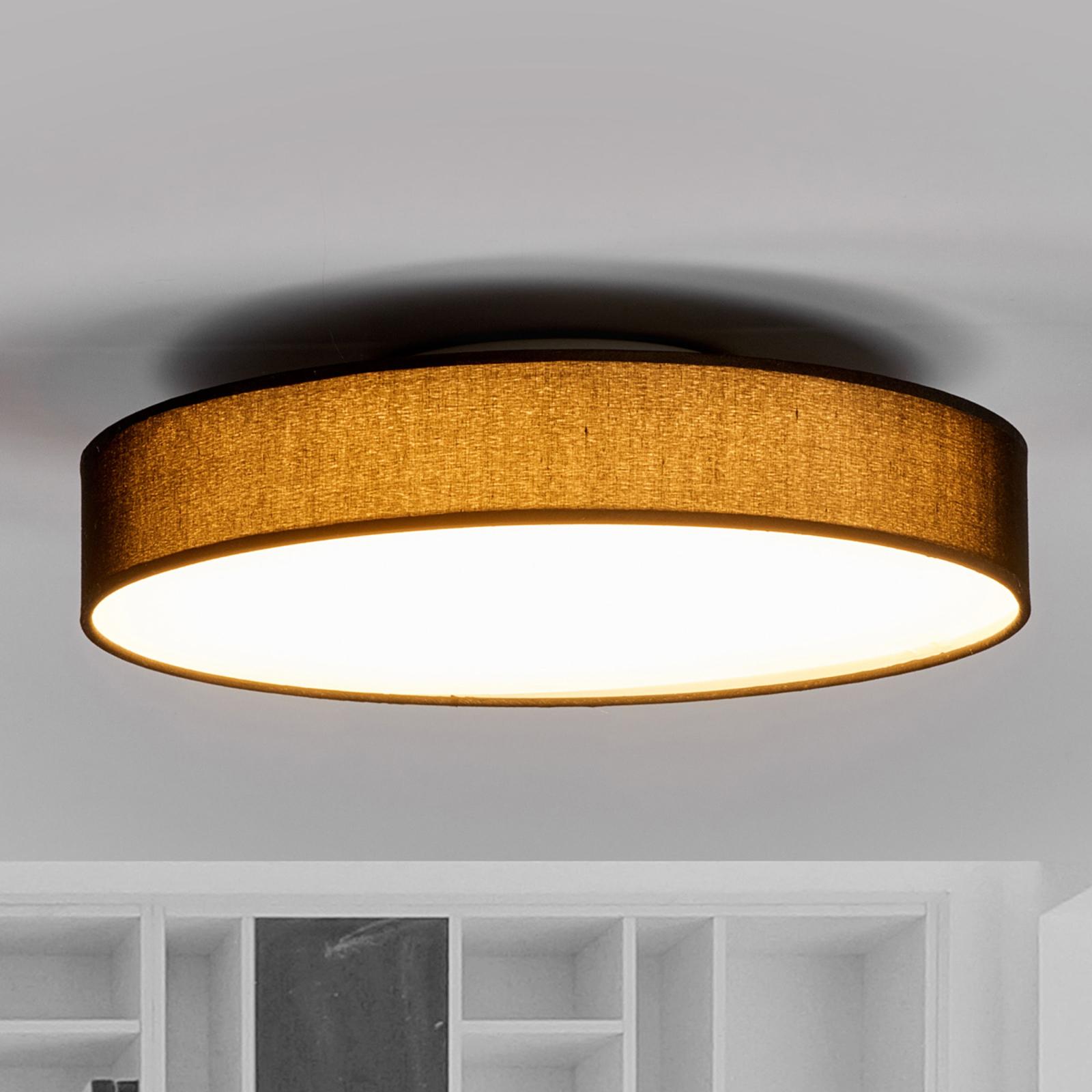 LED textilní stropní lampa Saira, 40 cm, černá