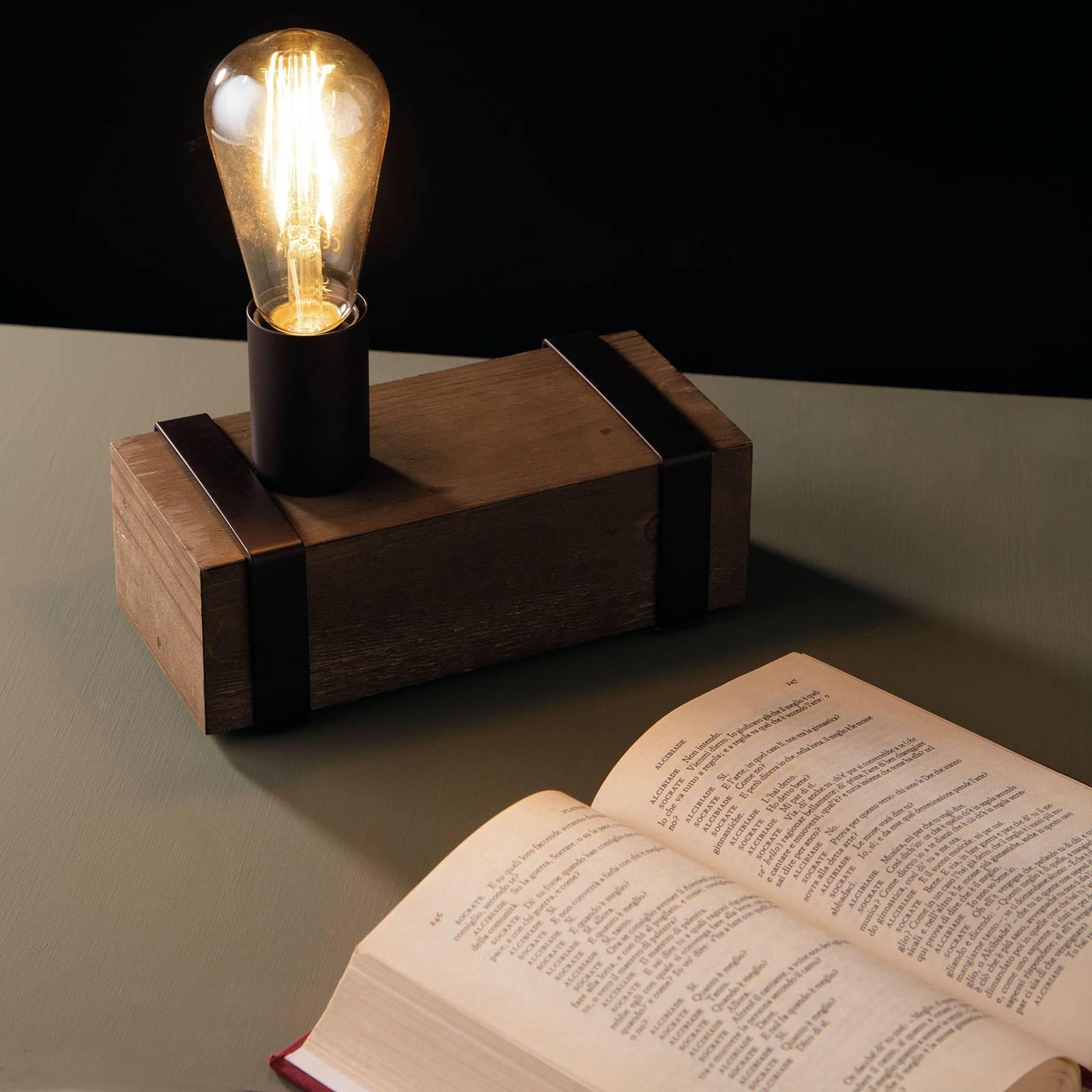 Tafellamp Texas van antiek hout, 1-lamp