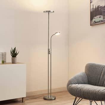 Lindby Seppa LED-golvlampa, rund, nickel