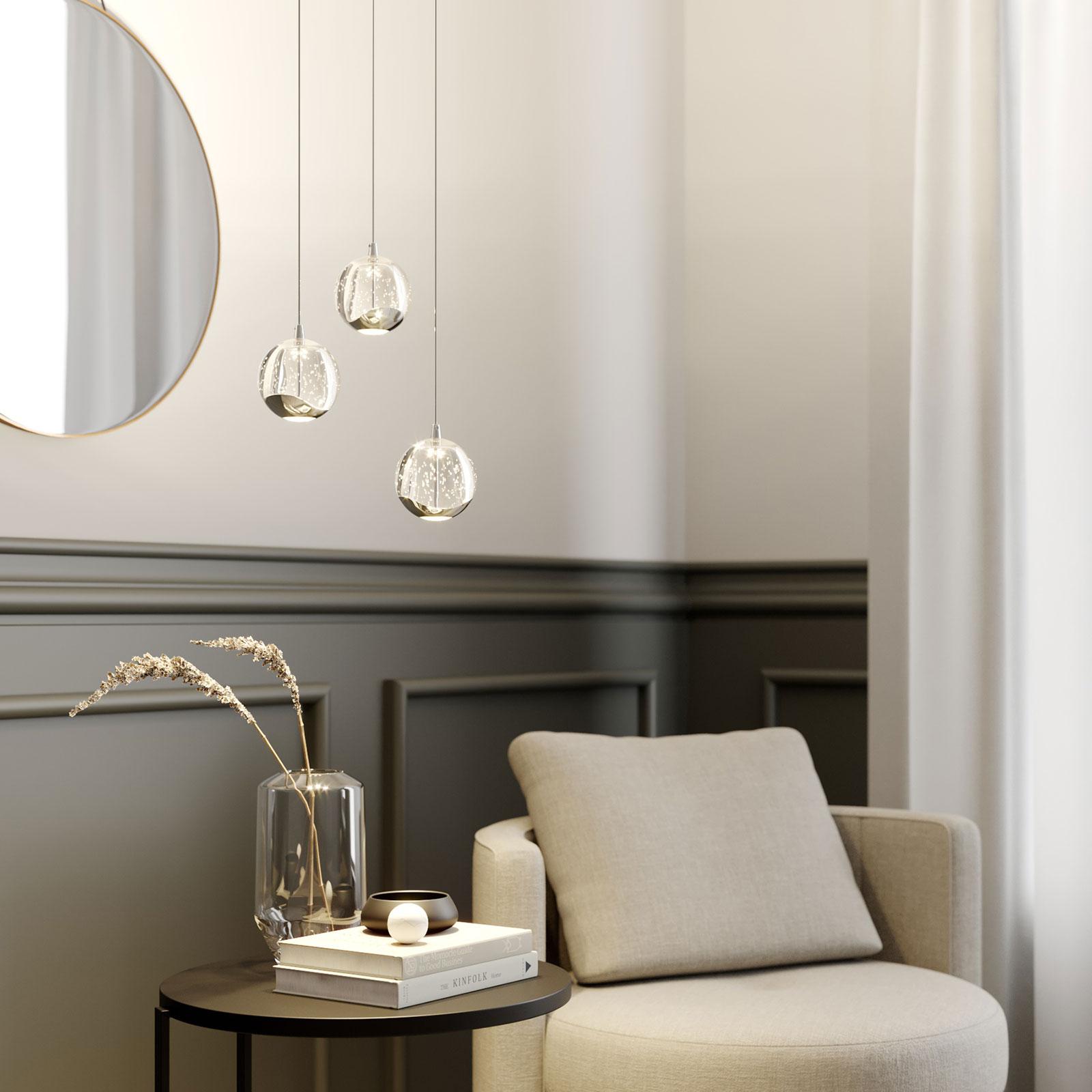 Lampa wisząca LED Hayley szklana kula 3-pkt. chrom
