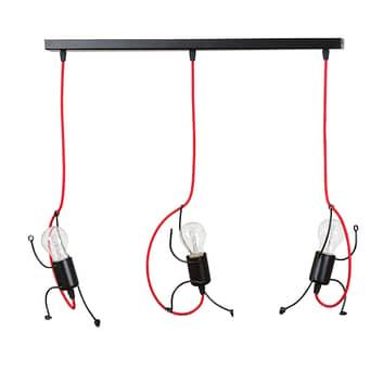 Lámpara colgante Bobi 3 negro, cable rojo, 3 luces