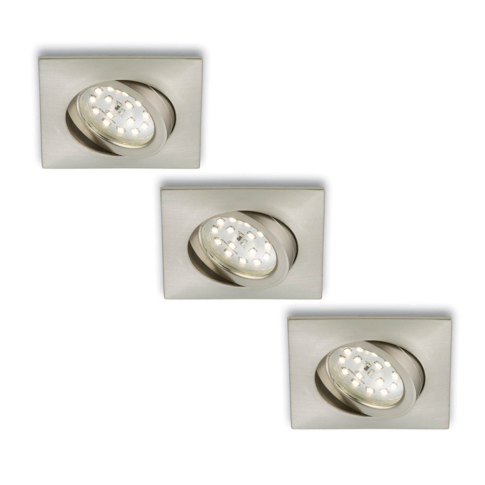 Niklowy reflektor wpuszczany LED 3 szt. kątowy