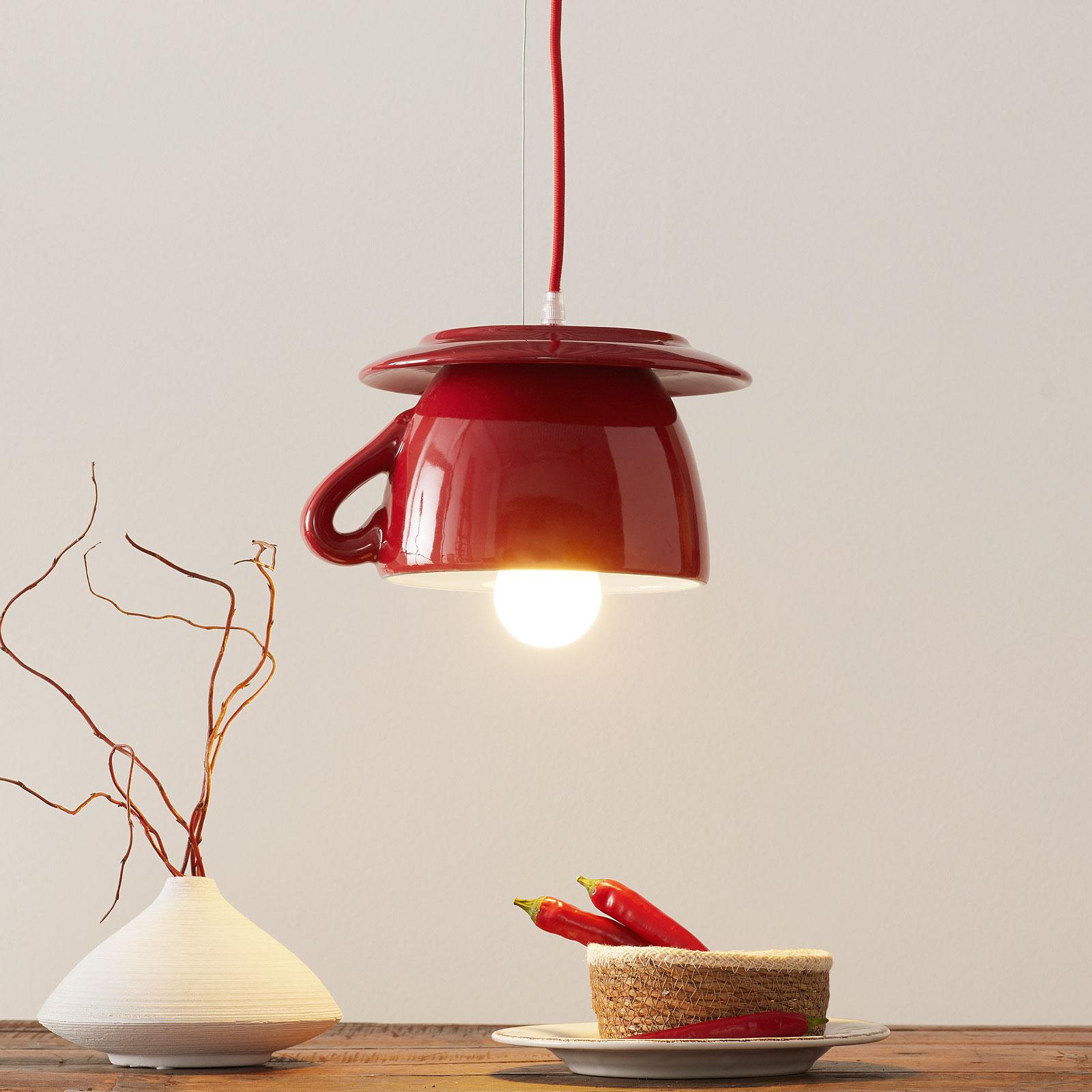 Keramiek-hanglamp S182, rood/hemelsblauw