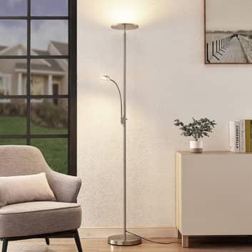Lindby Kavi LED-gulvlampe med læselampe, rund