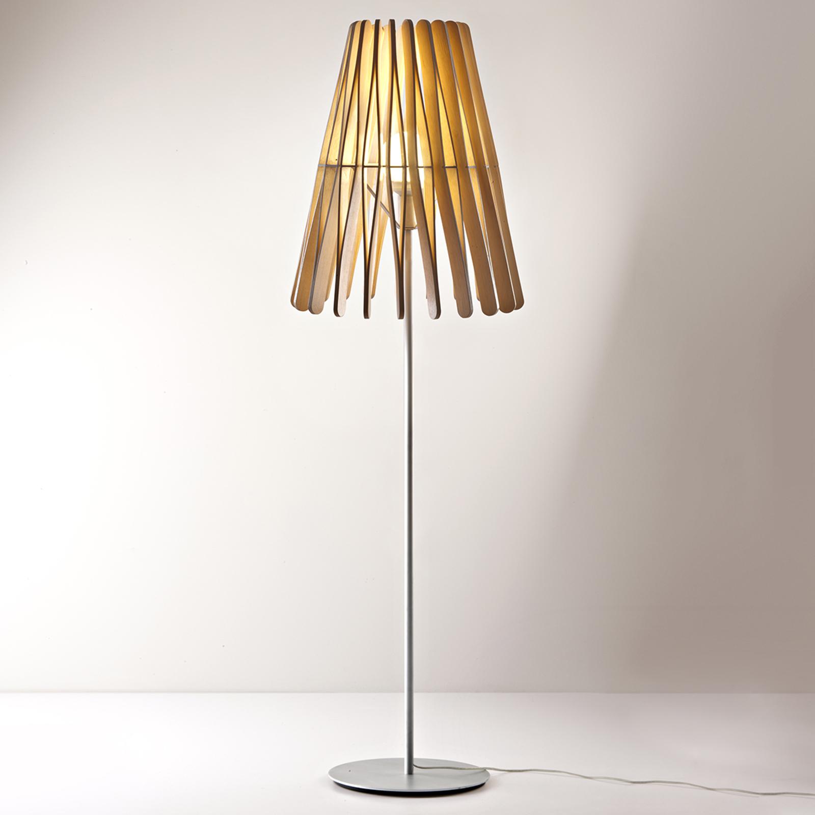 Fabbian Stick lampadaire en bois, conique