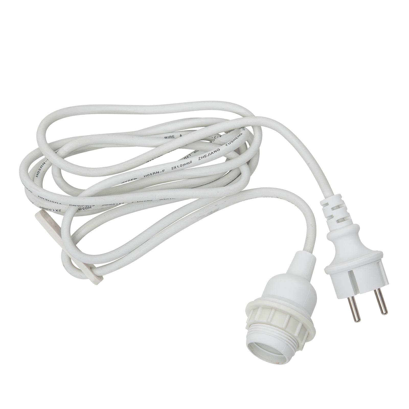 E27-fatning med kabel Ute, 2,5 m, hvit