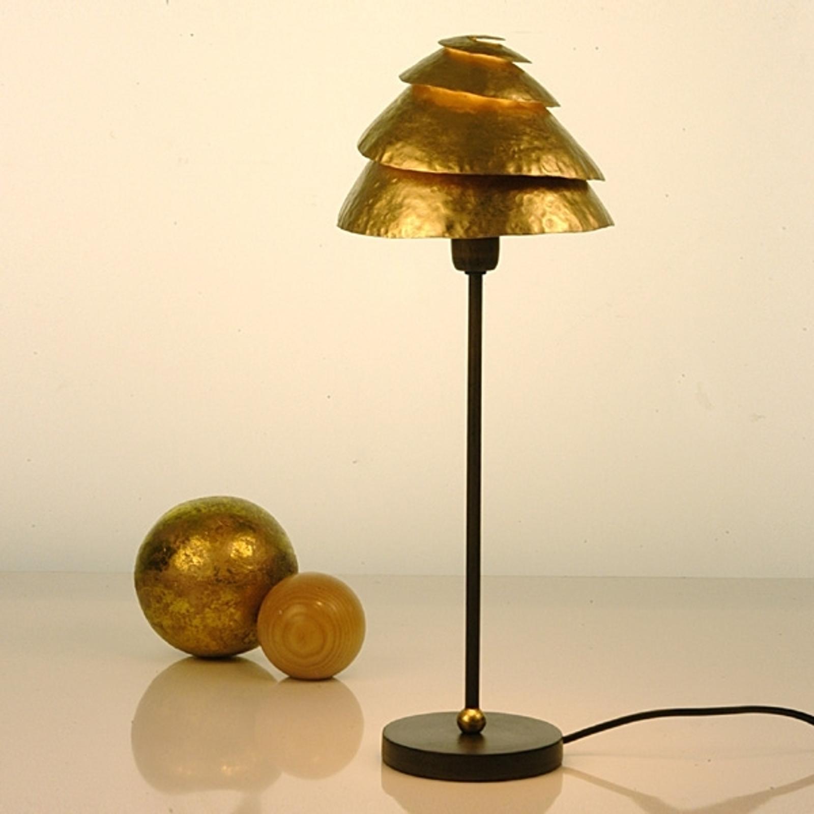 Tischleuchte Snail One in Braun-Gold