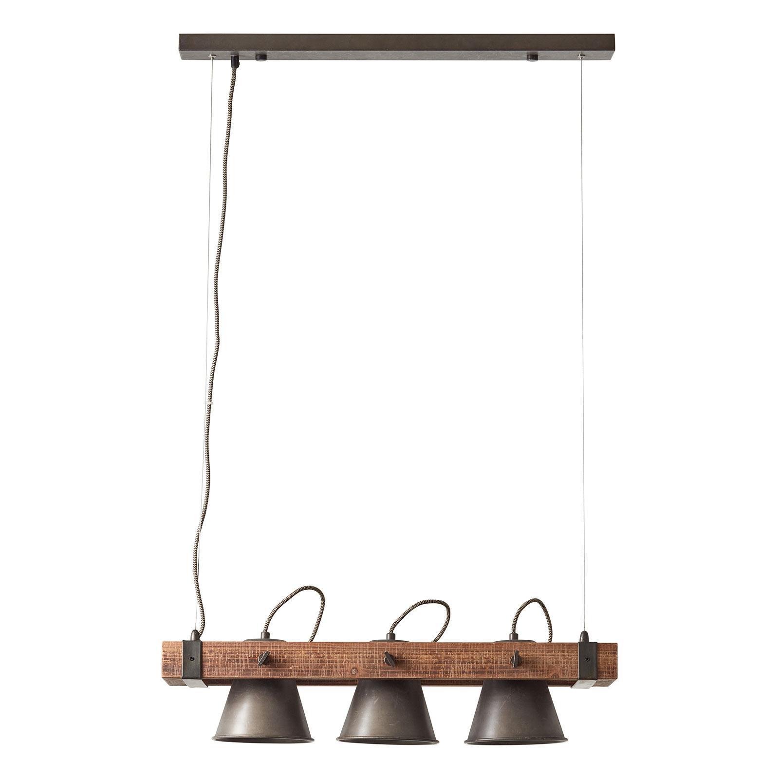 Suspension Plow à 3 lampes, noire/bois foncé